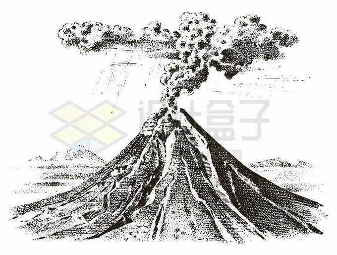 正在喷发的火山刻板画插画6749481矢量图片免抠素材