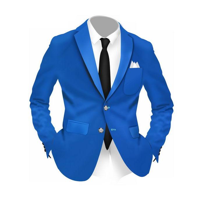 一款商务人士精神小伙儿穿的蓝色西装白衬衫黑领带男士服装4546536免抠图片素材免费下载 人物素材-第1张