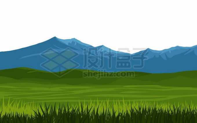 近处的青绿色大草原和远处深蓝色的高山大山风景2354612矢量图片免抠素材免费下载