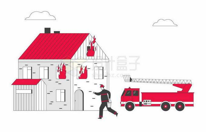 开着消防车正在为房子灭火的消防员宣传插画8100690矢量图片免抠素材免费下载