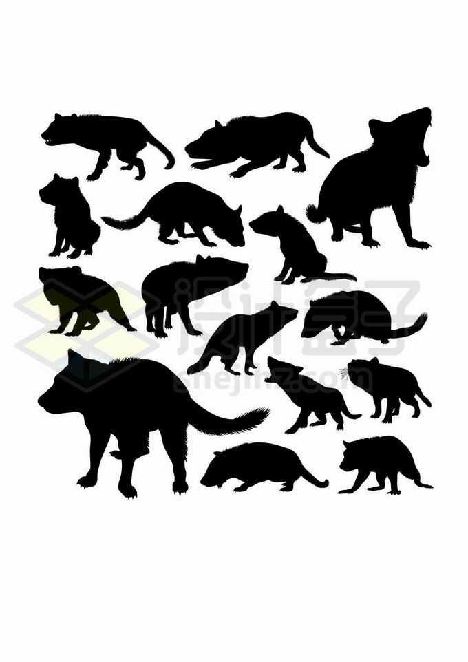各种袋獾澳大利亚野生动物剪影3040947矢量图片免抠素材