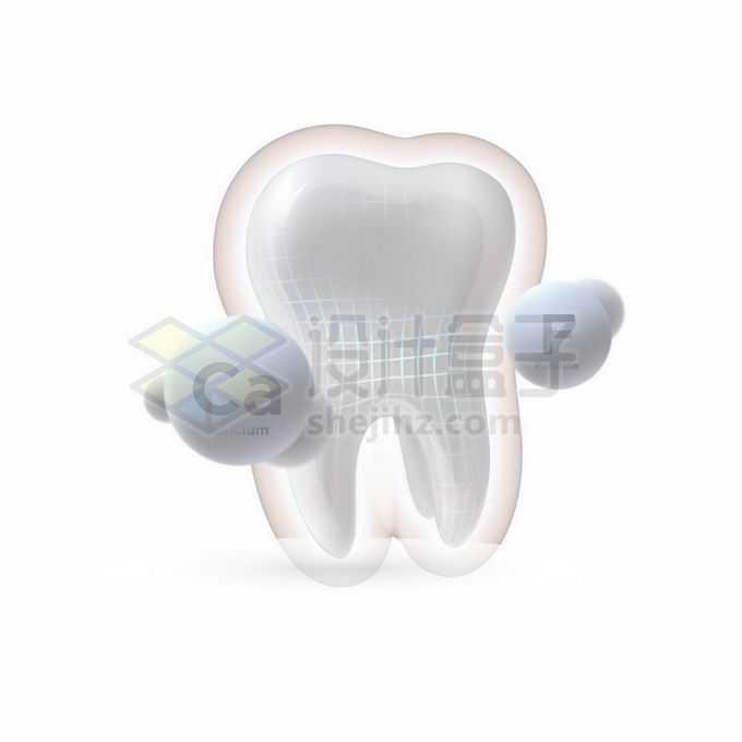 3D立体洁白的牙齿钙质氟元素牙齿保健7773907矢量图片免抠素材