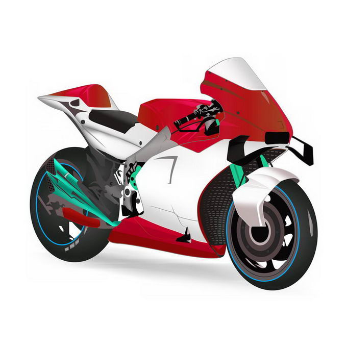 3D立体风格红色白色摩托车6098052免抠图片素材 交通运输-第1张