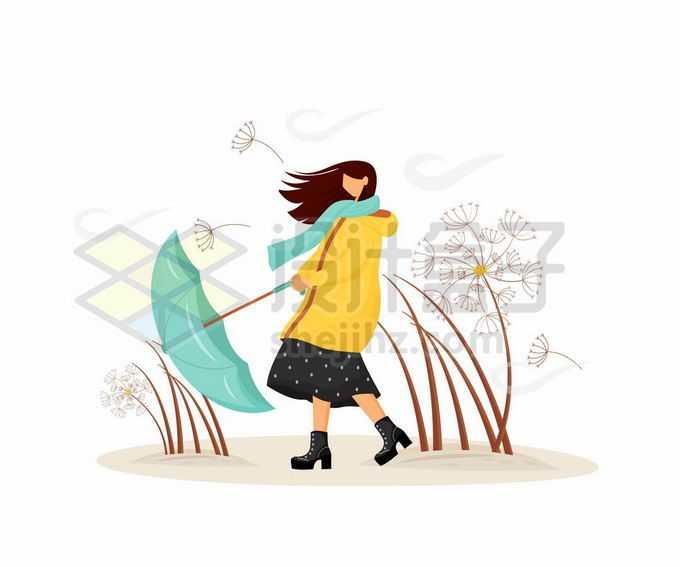 大风天里撑不住雨伞的女孩手绘插画9289146矢量图片免抠素材免费下载