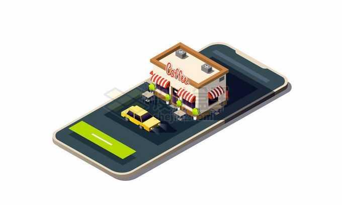 2.5D风格深色手机上的咖啡店手机导航功能7338702矢量图片免抠素材