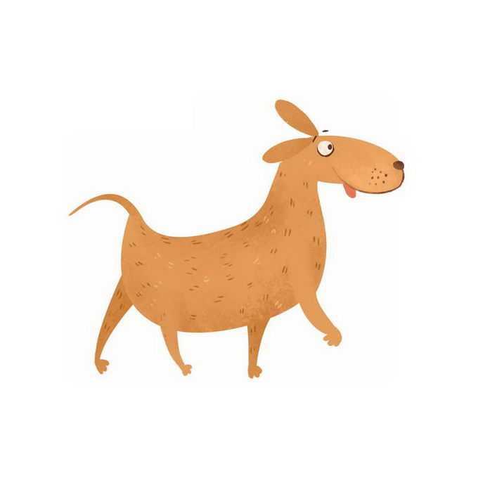 超可爱走路的搞笑卡通狗狗大黄狗小狗儿童插画2843890免抠图片素材
