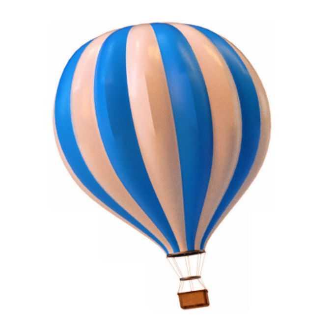 蓝色和淡红色条纹装的热气球9893345免抠图片素材
