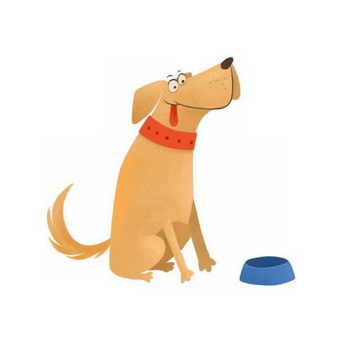 超可爱看着狗食盆的搞笑卡通狗狗大黄狗小狗儿童插画7200056免抠图片素材
