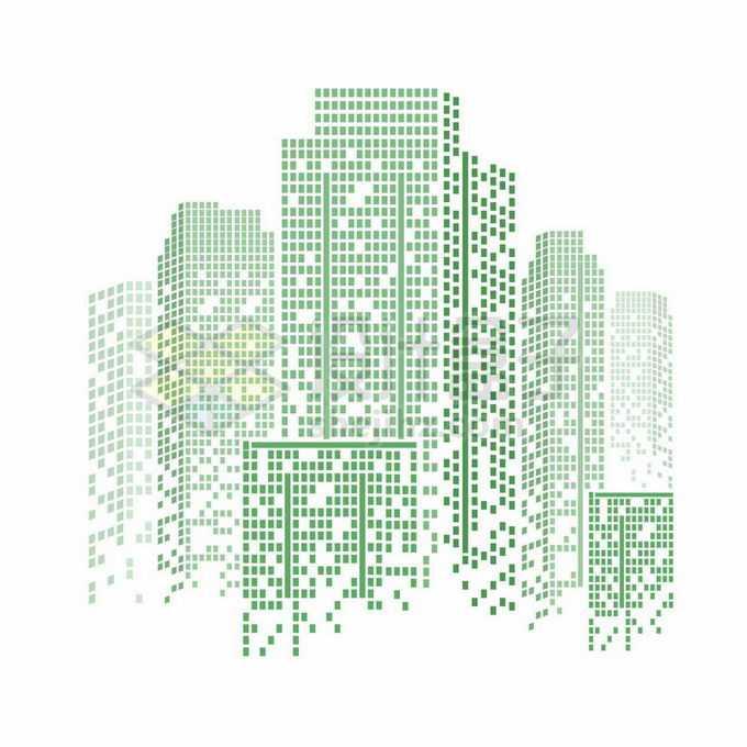绿色方块组成的城市天际线高楼大厦建筑图案4660708矢量图片免抠素材