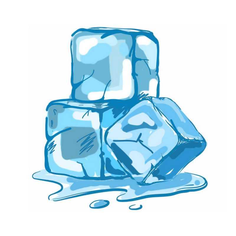 手绘风格蓝色方形冰块1836718免抠图片素材