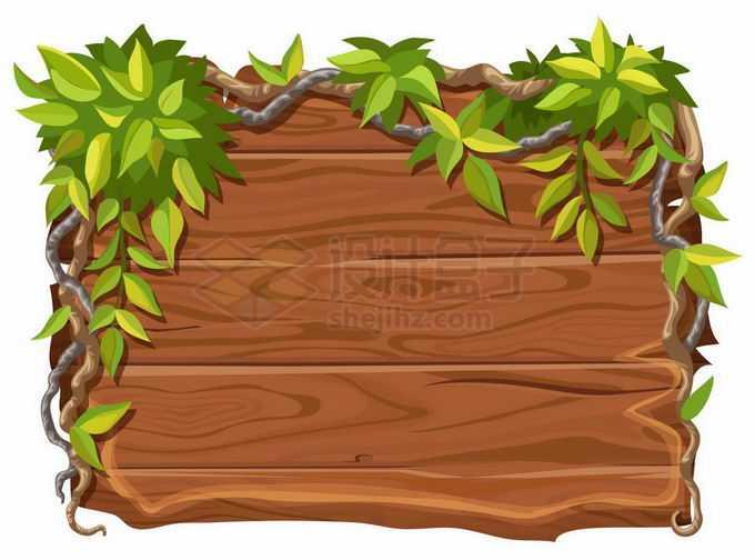 树枝和藤蔓装饰的木制木头木板文本框背景框边框9267426矢量图片免抠素材免费下载