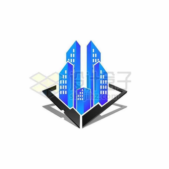 创意3D立体风格黑色方框中的蓝色城市建筑房地产公司logo标志设计6017422矢量图片免抠素材