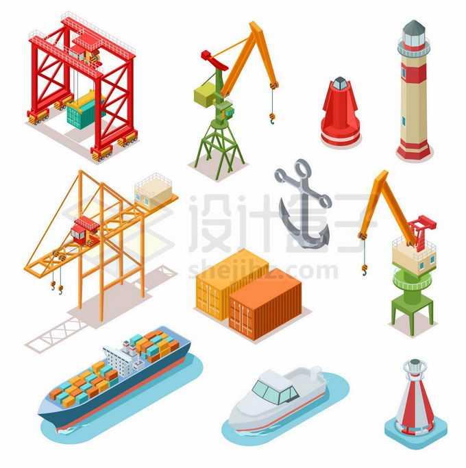 2.5D风格吊机吊车起重机灯塔集装箱轮船等港口码头设施6939880矢量图片免抠素材