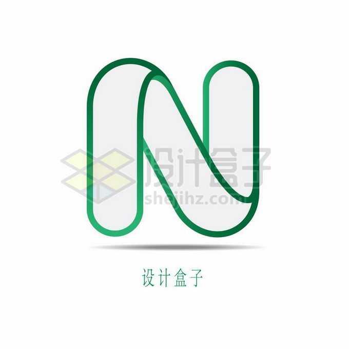 圆润的绿色线条大写字母N标志logo设计8954851矢量图片免抠素材