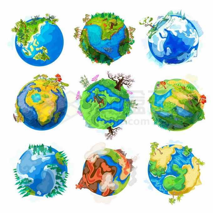 9款各种不同地形地貌气候条件的卡通地球插画2561318矢量图片免抠素材免费下载