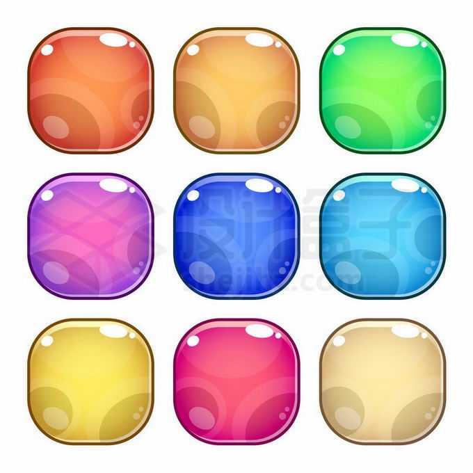 9种颜色的圆角卡通水晶按钮9385891矢量图片免抠素材免费下载