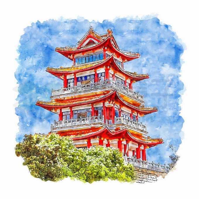 上海海湾龙腾阁中国古代建筑水彩插画6293974矢量图片免抠素材免费下载