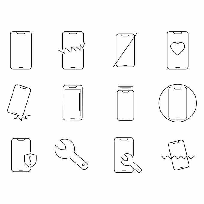 12款线条手机破损摔坏磕碰贴膜进水等手机故障维修图标4949297矢量图片免抠素材免费下载