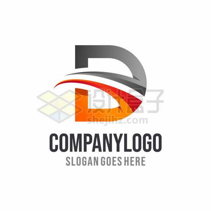 灰色和橙色大写字母D创意logo设计标志5648536矢量图片免抠素材