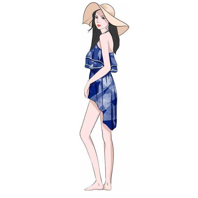 戴着遮阳帽的比基尼女孩清凉服装美女手绘插画1409405免抠图片素材