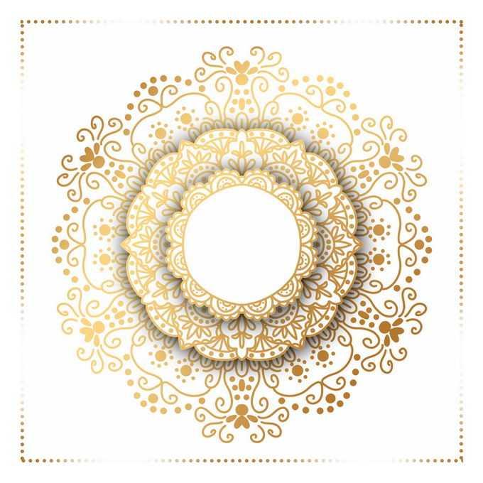 金色宗教复古复杂花纹装饰4207161矢量图片免抠素材