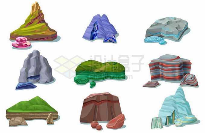 9款不同种类的石头石块沉积岩7042695矢量图片免抠素材
