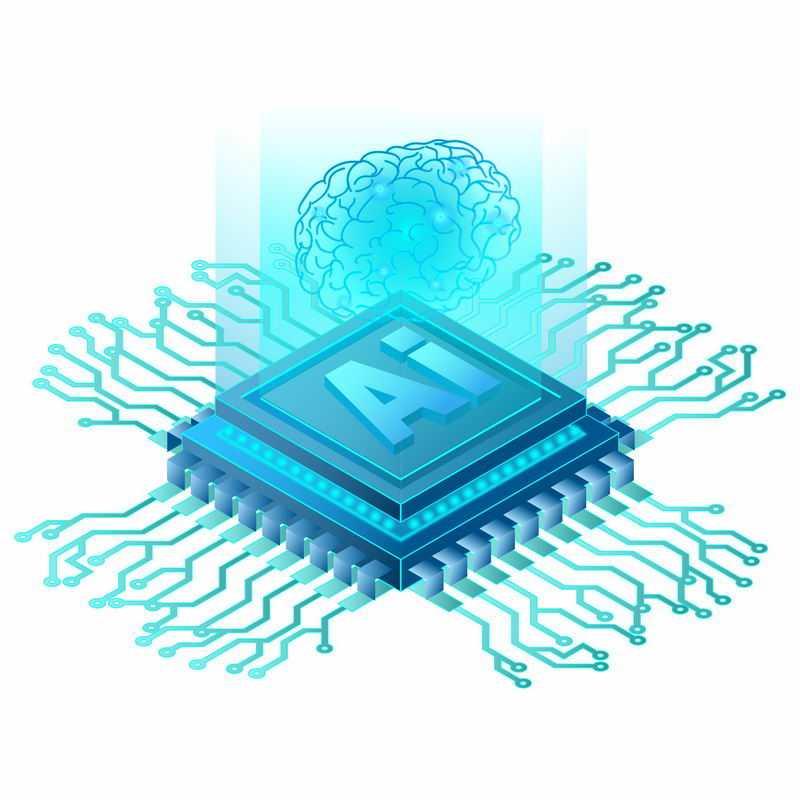 科技风格蓝色AI智能芯片6738629矢量图片免抠素材