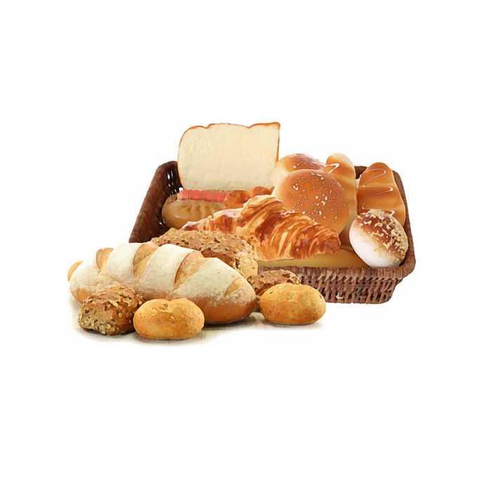 竹筐中的各式各样的面包美味美食6042711免抠图片素材