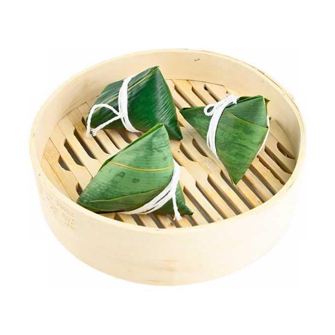 蒸笼里的三个端午节粽子传统美味美食4924915png免抠图片素材