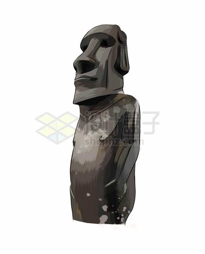 一尊复活节岛石像摩艾手绘插画1499989矢量图片免抠素材