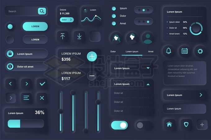 各种3D立体黑色蓝色风格APP软件UI设计控制按钮设计1380261矢量图片免抠素材免费下载