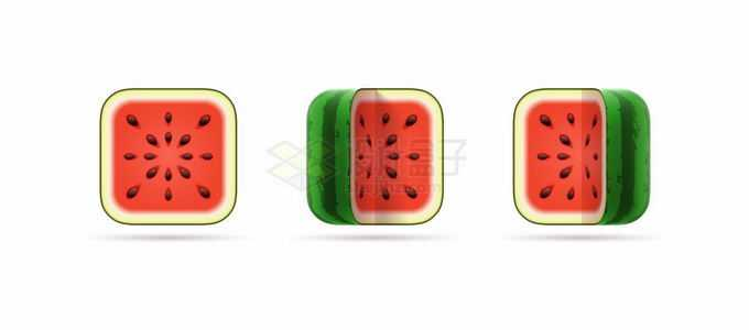 3款西瓜切面创意水果圆角方形图标6202848矢量图片免抠素材免费下载