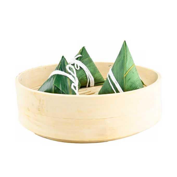 蒸笼里的三个端午节粽子传统美味美食6270718png免抠图片素材