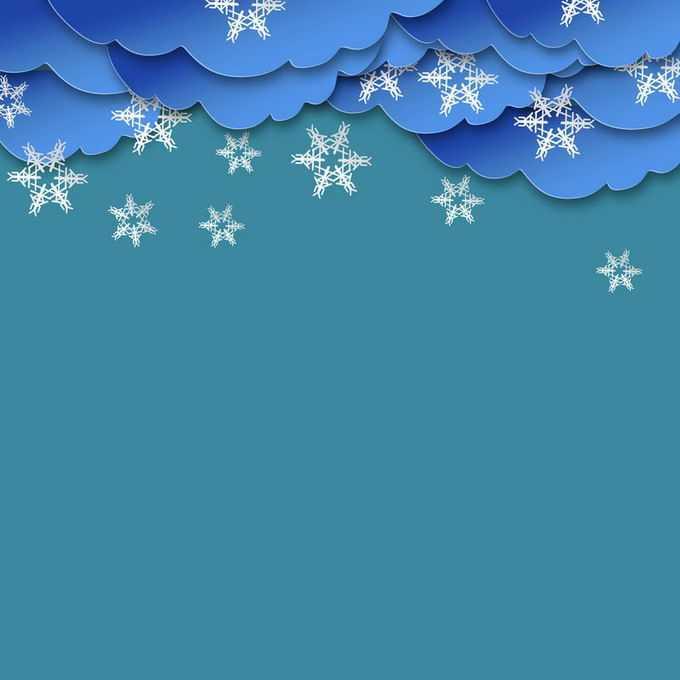 剪纸叠加风格蓝色乌云和雪花下雪天气2722843免抠图片素材