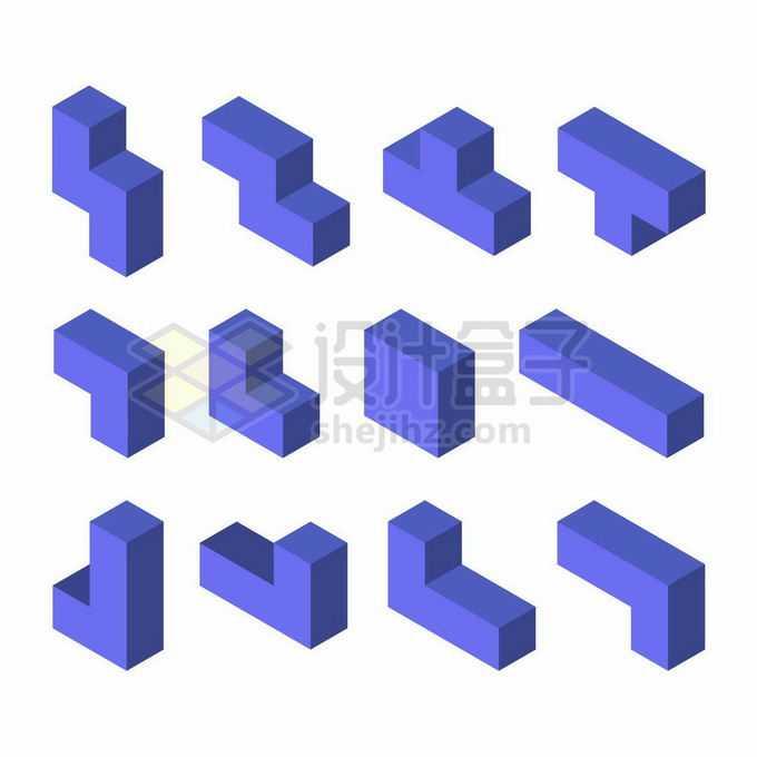 12款紫色3D立体俄罗斯方块形状1237455矢量图片免抠素材