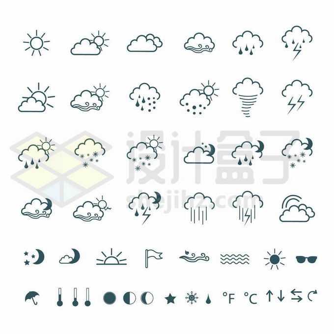 各种各样的线条天气预报图案5063872矢量图片免抠素材