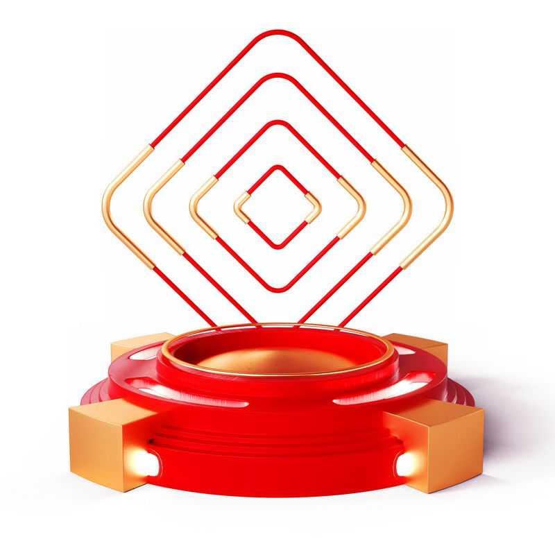 3D立体金色红色方形装饰红色金色圆形展台5739172免抠图片素材