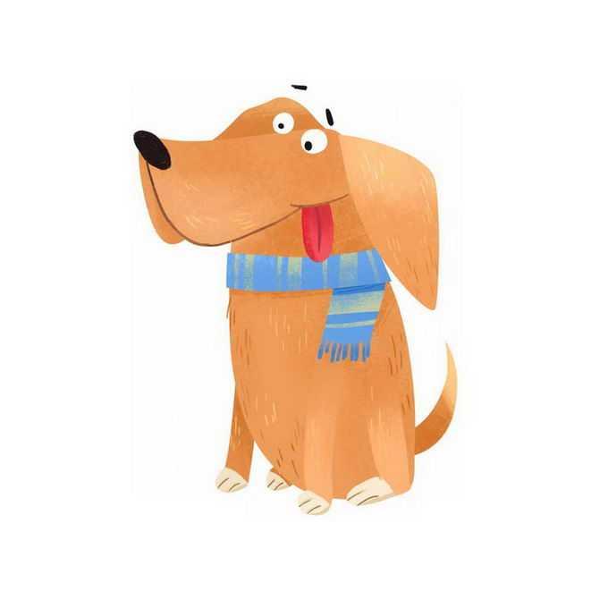 超可爱吐舌头的搞笑卡通狗狗大黄狗小狗儿童插画4207047免抠图片素材