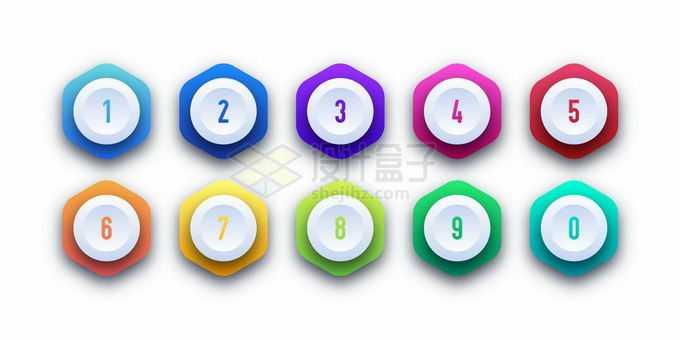 彩色圆角六边形PPT数字序号按钮7803857矢量图片免抠素材