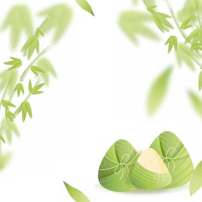 卡通端午节粽子和竹子竹叶装饰3259190免抠图片素材