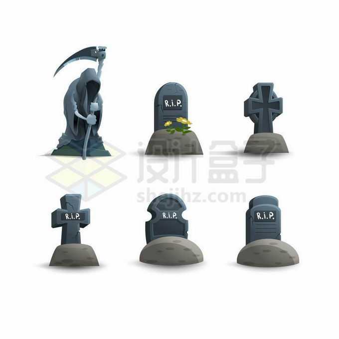 6款卡通墓碑和死神游戏道具UI元素3845667矢量图片免抠素材