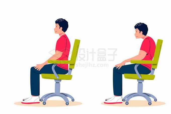 男子演示正确和错误坐姿对比图6560022矢量图片免抠素材免费下载