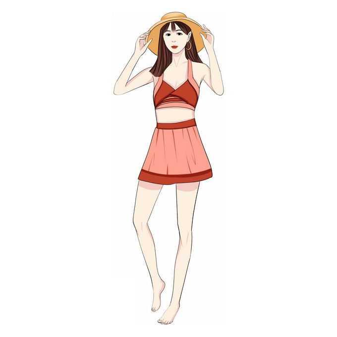 戴着遮阳帽的比基尼女孩泳装美女手绘插画3894258免抠图片素材