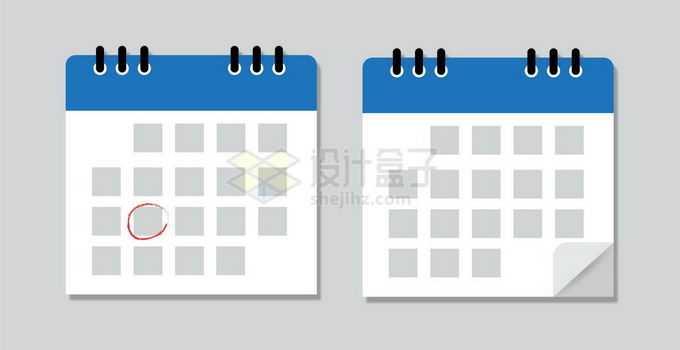 2款日历图标带当日手绘红线圈7705356矢量图片免抠素材