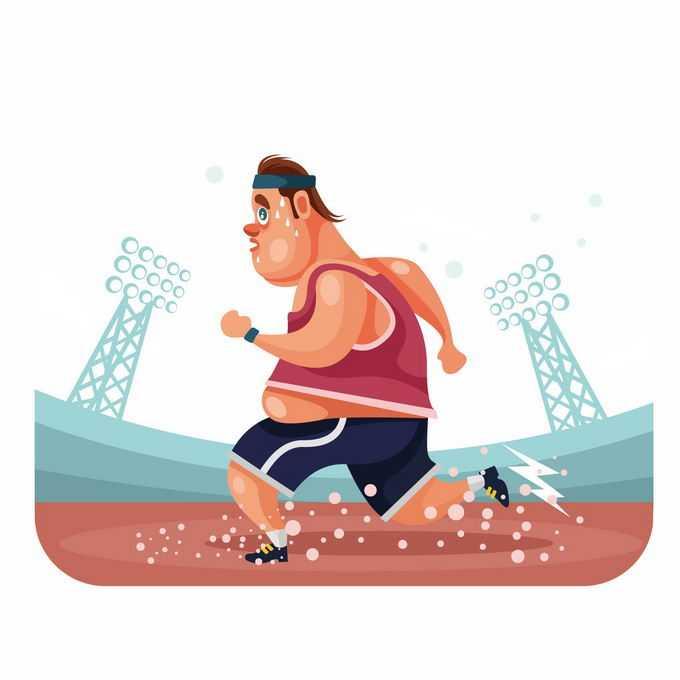 满头大汗的卡通胖子正在跑步健身锻炼减肥中的潜力股5297789矢量图片免抠素材免费下载