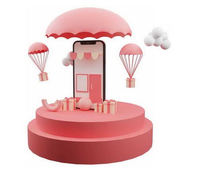 3D立体红色圆形展台上的手机购物9307749免抠图片素材