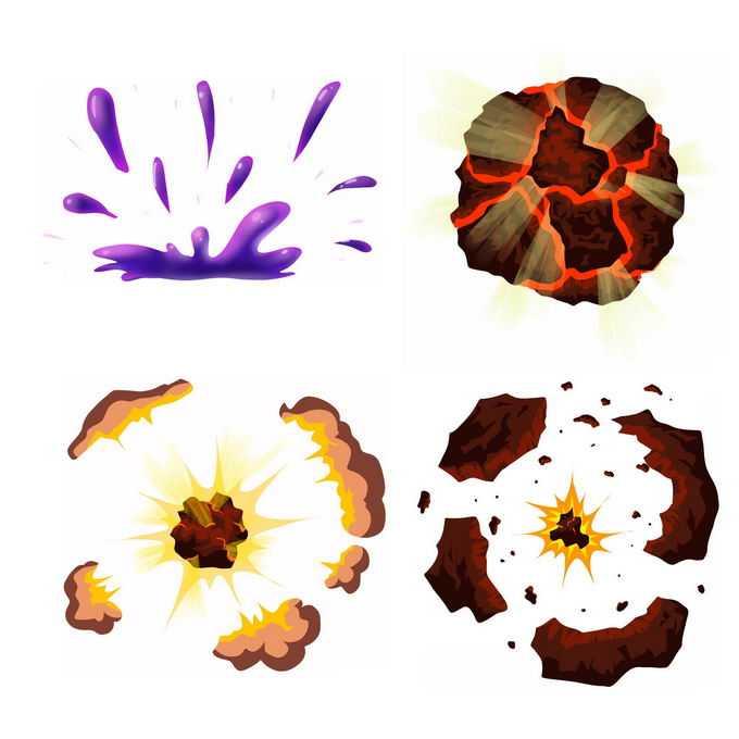 4种卡通漫画风格的彩色爆炸效果8072413矢量图片免抠素材