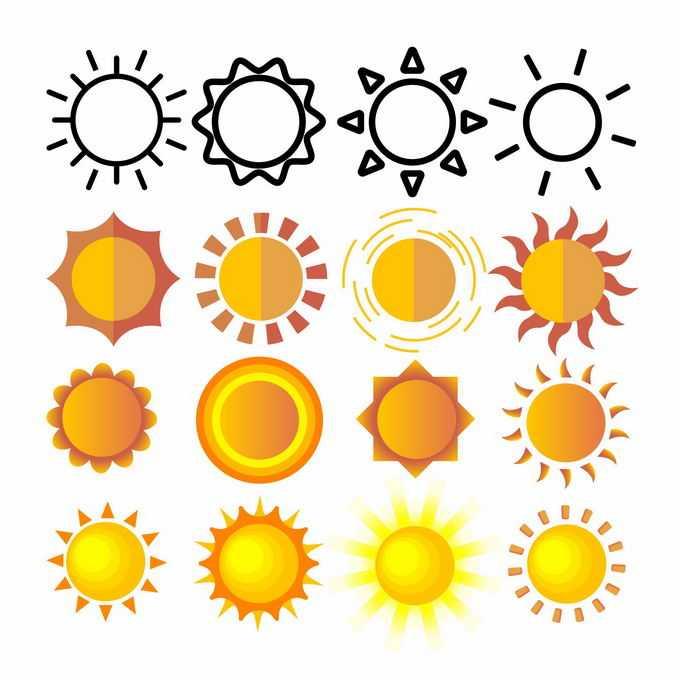 16款黑色线条太阳和黄色卡通太阳图案9902710矢量图片免抠素材免费下载