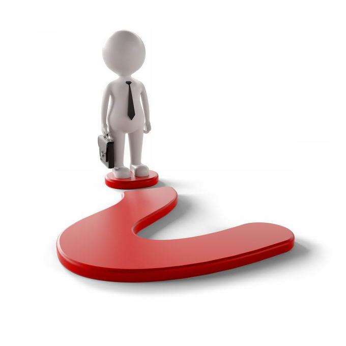 3D立体风格卡通小白人儿商务人士站在红色问号上象征了遇到问题6041961PSD免抠图片素材 商务职场-第1张