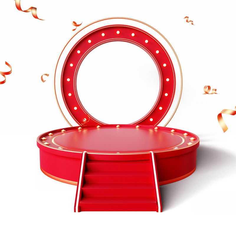 3D立体红色圆环装饰红色台阶圆形展台8988618免抠图片素材